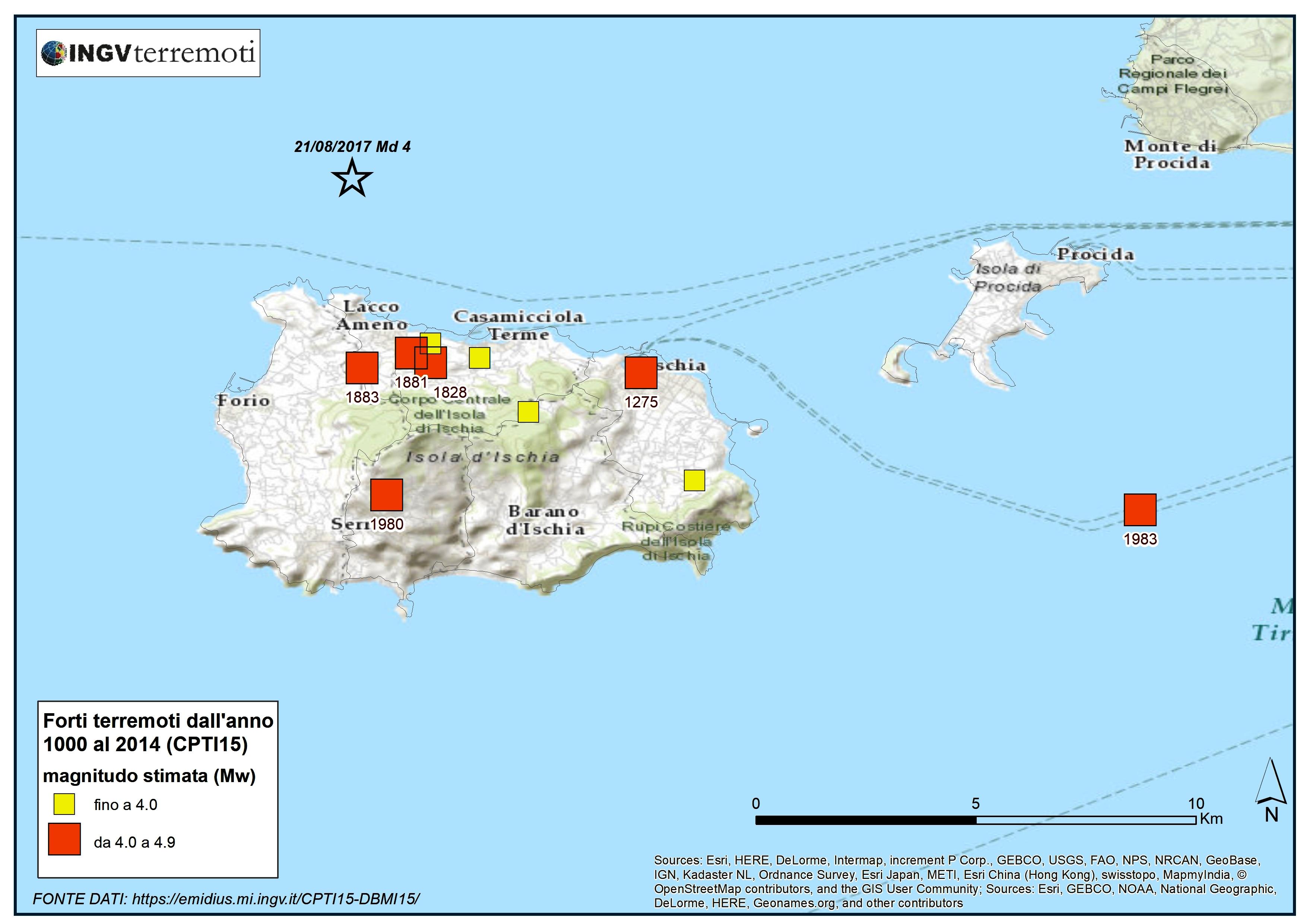 Mappa dei terremoti dell isola D Ischia